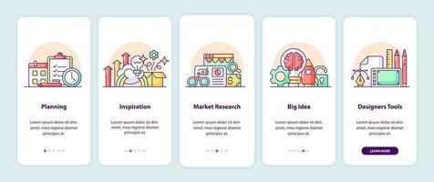 pagine delle schermate delle app per il pensiero creativo vettore