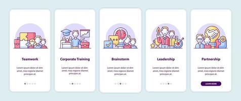 Principi aziendali nelle pagine delle schermate dell'app vettore