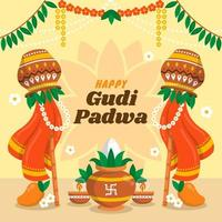 la gioiosa occasione del festival gudi padwa vettore