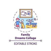 icona di concetto di collage di sogni di famiglia vettore