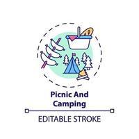 icona del concetto di picnic e campeggio vettore