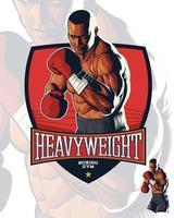 illustrazione realistica del combattente di boxe vettore