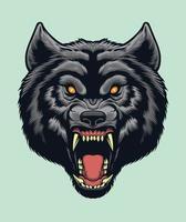 vettore di testa di lupo arrabbiato per elementi di design per logo, poster, illustrazione
