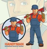 design mascotte riparatore vettore