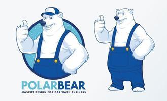 disegno della mascotte dell'orso polare vettore