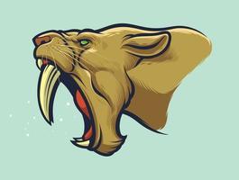 testa di tigre dai denti a sciabola per patch design o loghi di squadre sportive vettore