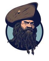 capitano pirata con barba lunga vettore