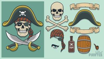 elementi pirata per la creazione di mascotte e logo vettore