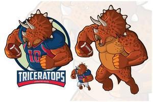 Character design triceratopo per il calcio americano e il rugby vettore