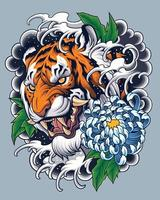disegno del tatuaggio della tigre in stile giapponese vettore
