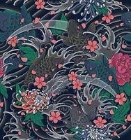 onda giapponese e illustrazione di koi come un modello senza soluzione di continuità per sfondo, indumenti, abbigliamento, carta da imballaggio o carta da parati. vettore