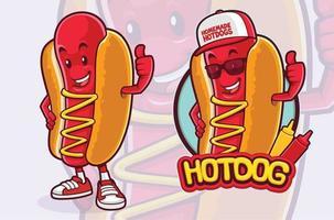 design del personaggio mascotte hot dog per venditore di fast food vettore