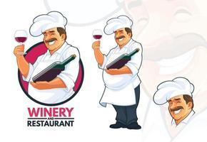 chef che serve vino vettore
