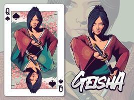 illustrazione di geisha per il disegno di carte da gioco della regina di picche vettore