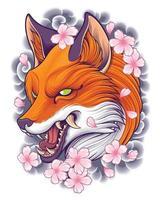 illustrazione della testa di volpe con sfondo di arte del tatuaggio giapponese vettore