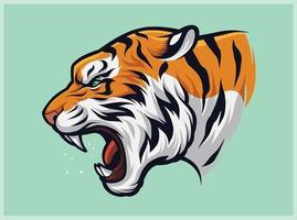 tigre ruggente arrabbiata, panthera tigris vettore