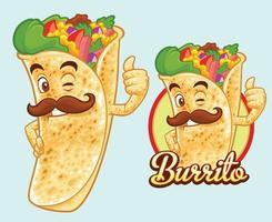 design mascotte burrito per venditore e ristorante di cibo messicano vettore