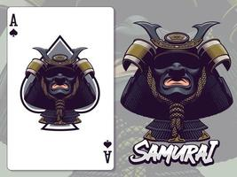 illustrazione della testa del samurai per il disegno della carta pagante asso di picche vettore