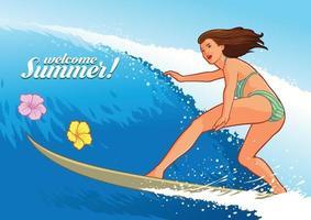 ragazza sexy surf in spiaggia hawaiana vettore