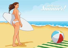 ragazza della spiaggia che gode del giorno di estate vettore