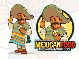 mascotte messicana per ristorante taco vettore