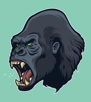 testa di gorilla arrabbiato vettore
