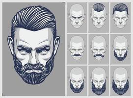 set di stili di barba e capelli vettore