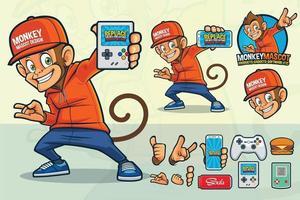 design mascotte scimmia per negozio di videogiochi o altri prodotti vettore