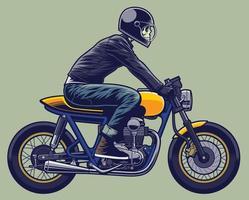 scheletro in sella a una moto vettore