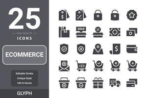 ecommerceicon pack per il design del tuo sito web, logo, app, ui. e-commerce icona glifo design vettore