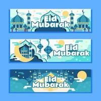 eid mubarak con striscione notturno tranquillo vettore