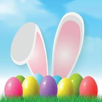 sfondo di Pasqua con uova colorate sdraiato sull'erba, orecchie da coniglio - illustrazione vettoriale