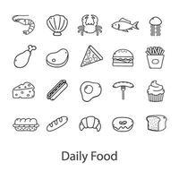 cibo astratto impostato su sfondo bianco - vettore