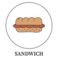 astratto grande panino su sfondo bianco - vettore