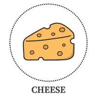 pezzo di formaggio perforato su uno sfondo bianco - vettore