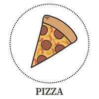 pizza astratta con peperoni e diversi tipi di salse e formaggi - vettore