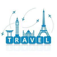 stagione dei viaggi e del turismo per il mondo - vettore di concetto