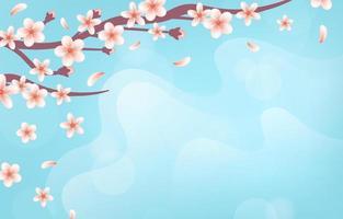 sfondo realistico di fiori di ciliegio vettore