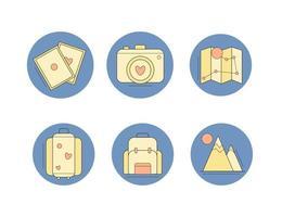 set di design piatto icone di viaggio vettore