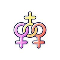 icona di colore rgb della comunità delle donne vettore