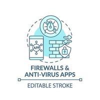 icona del concetto di app firewall e antivirus vettore