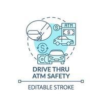 guidare attraverso l'icona del concetto di sicurezza bancomat vettore