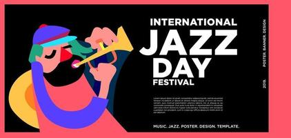 vettore colorato internazionale jazz giorno banner design