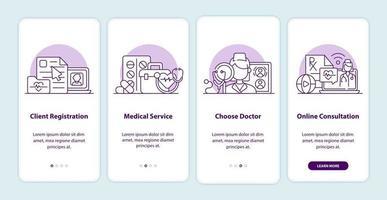 pagine delle schermate delle app di onboarding di medicina online vettore