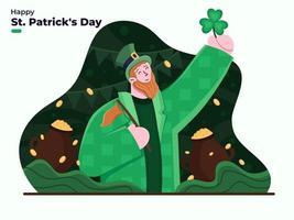 illustrazione piatta del giorno di san patrizio 17 marzo. giorno della festa di patrick. felice giorno di san patrizio con foglia di trifoglio con persona che indossa il costume da leprechaun con monete d'oro in pentole sfondo. vettore