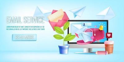 banner di servizio newsletter e-mail, modello di vettore di pagina web, schermo del computer, cassetta postale, buste. sfondo di posta elettronica marketing digitale, concetto di business di rete smm. illustrazione del servizio di posta elettronica