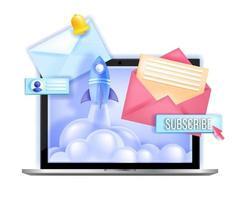 iscriviti alla newsletter online email marketing illustrazione vettoriale, lancio di un razzo, schermo del laptop. comunicazione Internet, concetto di rete, pulsante di abbonamento, lettere. iscriviti alla newsletter icona aziendale vettore