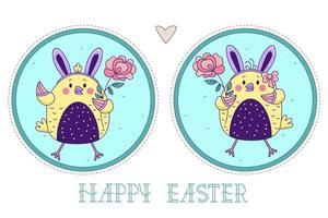 un paio di simpatici uccellini. ragazza di pulcini di Pasqua e ragazzo con orecchie da coniglio e con una rosa su uno sfondo rotondo decorativo. illustrazione vettoriale. biglietto di auguri colorato felice Pasqua vettore