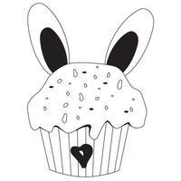 bigné di Pasqua con orecchie da coniglio. disegno vettoriale. linea nera, contorno. dolce festivo per arredamento, design e cartoline, stampa, decorazione buona pasqua vettore