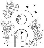 8 marzo biglietto di auguri per la giornata internazionale della donna. numero otto, un mazzo di fiori, cuori e foglie, una scatola con un regalo. vettore. disegno decorativo, linea nera, contorno vettore